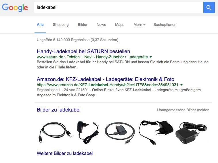 Amazon Produkte befinden sich in den Google Suchergebnissen fast immer auf Seite 1.