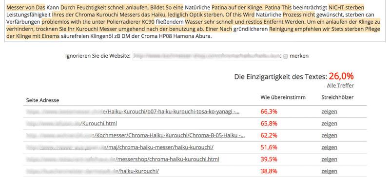 Einzigartigkeit des Textes 26 Prozent - Content Watch